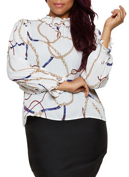 Plus Size Chain Print Button Back Blouse - 3925069391191