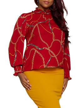 Plus Size Chain Print Button Back Blouse - 3925069391191