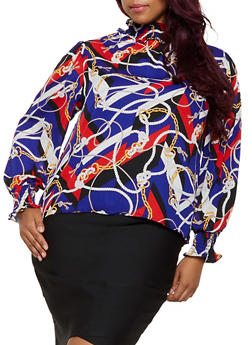 Plus Size Rope Print Button Back Blouse - 3925069391192