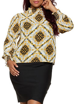 Plus Size Printed Button Back Blouse - 3925069391193