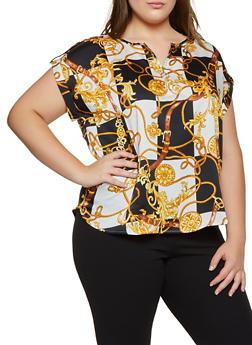Plus Size Checkered Status Print Blouse - 3925069391194