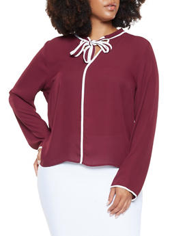 Plus Size Tie Neck Blouse - 3925069391210