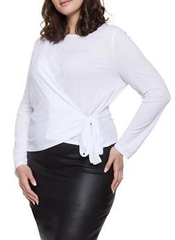 Plus Size Side Tie Top - 3925069391211