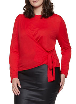 Plus Size Side Tie Top - 3925069391211