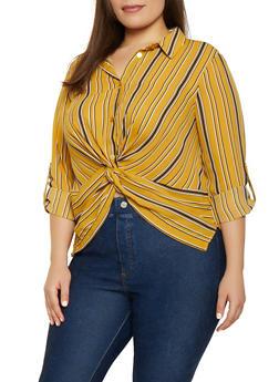 Plus Size Striped Twist Front Shirt - 3925069391262