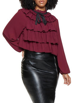 Plus Size Ruffled Tie Neck Blouse - 3925069391305