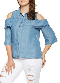Plus Size Ruffled Chambray Shirt - 3925069391359
