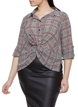 Plus Size Plaid Twist Front Shirt - 3925069391362