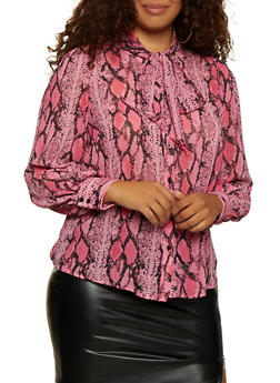 Plus Size Snake Print Tie Neck Top - 3925069391533
