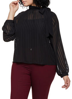 Plus Size Button Tie Neck Blouse - 3925069391616