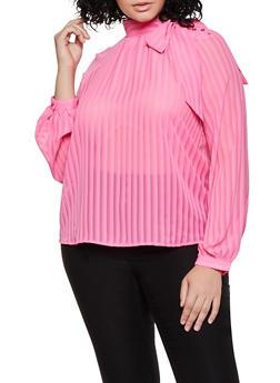 Plus Size Button Tie Neck Blouse - 3925069391616