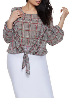 Plus Size Ruffled Plaid Top - 3925069392168