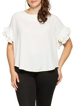 Plus Size Pleated Short Sleeve Blouse - 3925069392189