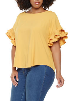 Plus Size Pleated Short Sleeve Blouse - 3925069392189