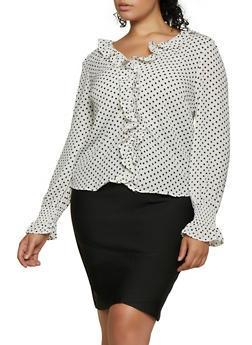 Plus Size Polka Dot Ruffled Top - 3925069392719