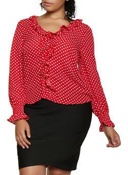 Plus Size Polka Dot Ruffled Top - 3925069392719