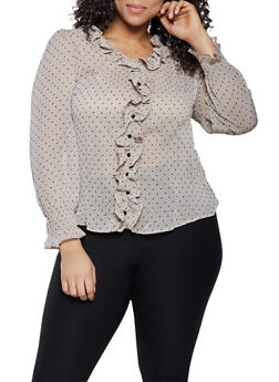 Plus Size Polka Dot Ruffled Blouse - 3925069393569