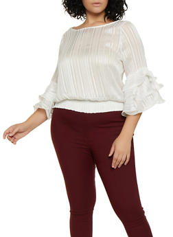 Plus Size Tiered Sleeve Striped Lurex Blouse - 3925069393644