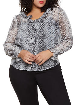 Plus Size Animal Print Ruffle Trim Blouse - 3925069393671