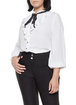 Plus Size Ruffled Tie Neck Blouse - IVORY - 3925069395278