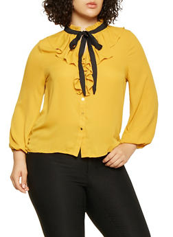Plus Size Ruffled Blouse - 3925069395279