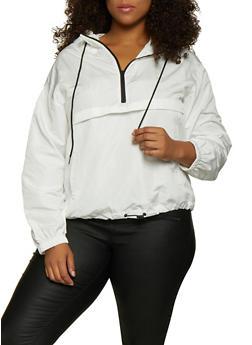 Plus Size Zip Neck Windbreaker Jacket - 3925069396609
