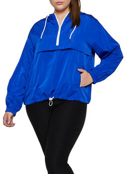 Plus Size Zip Neck Windbreaker Jacket - 3925069396609