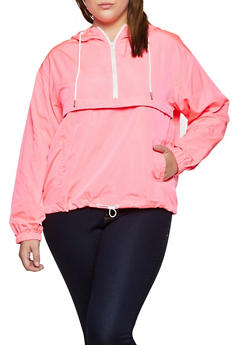 Plus Size Zip Neck Windbreaker Jacket - NEON PINK - 3925069396609