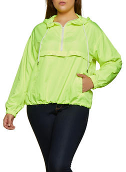 Plus Size Zip Neck Windbreaker Jacket - NEON YELLOW - 3925069396609