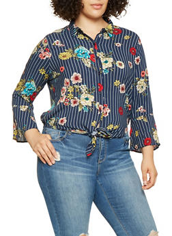 Plus Size Floral Striped Tie Front Shirt - 3925069397304