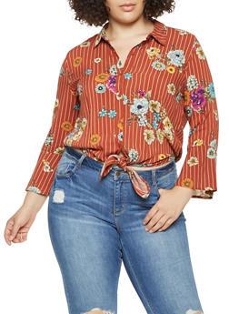 Plus Size Floral Striped Tie Front Shirt - 3925069397304