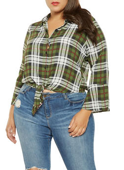 Plus Size Plaid Tie Front Shirt - 3925069397305