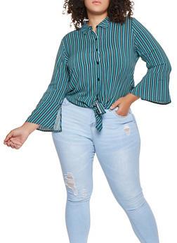 Plus Size Striped Tie Front Shirt - 3925069397782