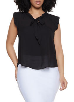 Plus Size Tie Neck Ruffle Trim Top - Black - Size 2X - 3925069398904