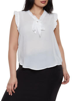 Plus Size Tie Neck Ruffle Trim Top - 3925069398904