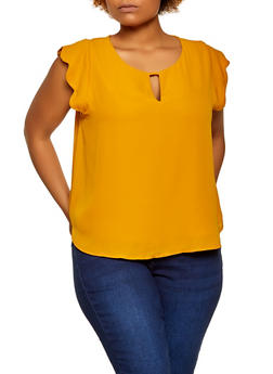 Plus Size Scalloped Cap Sleeve Blouse - 3925069399017
