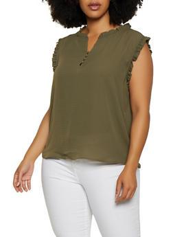 Plus Size Textured Ruffle Trim Blouse - 3925069399018