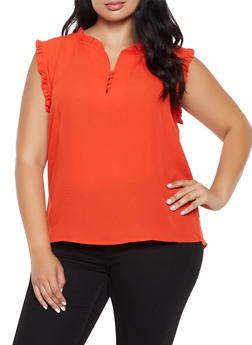Plus Size Textured Ruffle Trim Blouse - 3925069399018