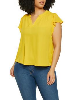 Plus Size Flutter Sleeve Blouse | 3925069399035 - 3925069399035