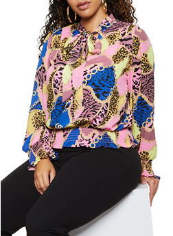 Plus Size Tie Neck Printed Blouse - 3925069399251
