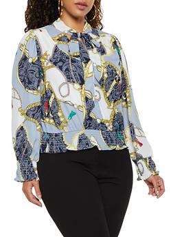 Plus Size Tie Neck Status Print Blouse - 3925069399252