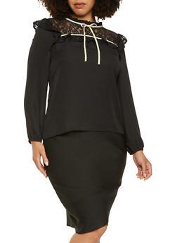 Plus Size Lace Yoke Top - 3925069399415