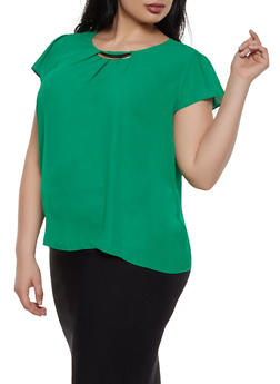 Plus Size Cap Sleeve Metallic Neck Blouse - 3925069399432