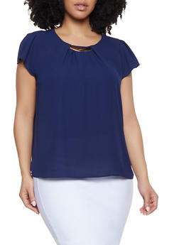 Plus Size Blue Polyester Blouse