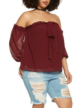 Plus Size Ruffle Trim Off the Shoulder Top - 3925069399647