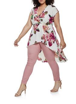 Plus Size Floral Faux Wrap High Low Top - 3925072247750