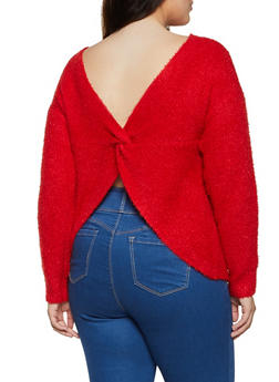 Plus Size Eyelash Knit Twist Back Sweater - 3926015990011