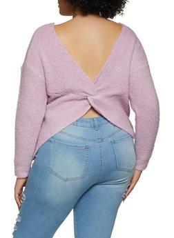 Plus Size Eyelash Knit Twist Back Sweater - 3926015990011