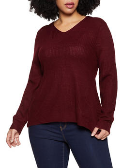 Plus Size Twist Back V Neck Sweater - 3926015990670