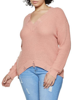 Plus Size Distressed Detail Long Sleeve Sweater - 3926015992831